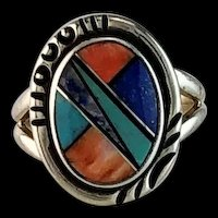 Native American Inlay Ring   Size 6 1/4