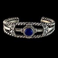 Southwestern Design Sterling and Lapis Bracelet