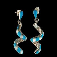 Native American Spiraling Turquoise and Mother of Pearl Earrings
