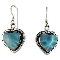Sterling and Larimar Heart Earrings