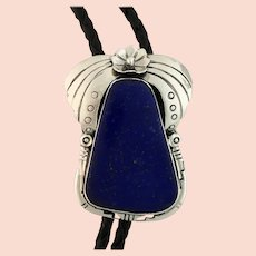 Sterling and Lapis Bolo by Navajo Artist Ted Secatero