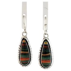 Navajo Sterling and Rainbow Calsilica Earrings