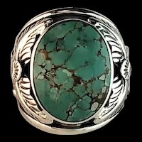 Navajo Sterling and Turquoise Mens Ring Size 8 1/4