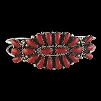 Sterling and Coral Bracelet by Navajo Artist Rosanna Williams