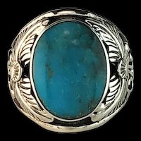 Navajo Sterling and Turquoise Men's Ring Size  11 1/4
