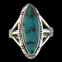 Navajo Sterling and Kingman Turquoise Ring Size 11 1/2