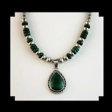 White Fox Creation: Sterling and Malachite Necklace