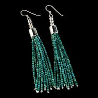 White Fox Creation: Dazzling 10 Strand Turquoise Earrings