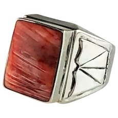 Navajo Sterling and Spiny Oyster Mens Ring Size 12