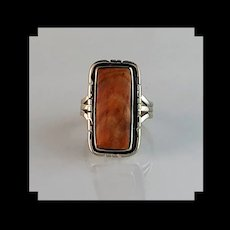 Sterling and Spiny Oyster Ring By Navajo Artist Melissa Yazzie  Size 7 3/4