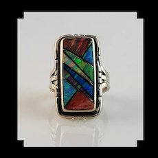 Sterling and Opalite Inlay Ring by Melissa Yazzie   Size 6