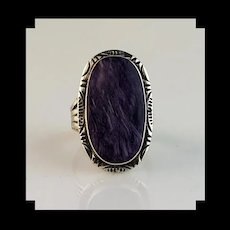 Large Sterling and Charoite Ring  Size 10 3/4