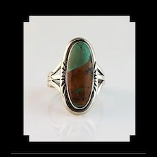 Navajo Sterling and Boulder Turquoise Ring  Size 7 3/4