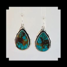 Navajo Sterling and Pilot Mountain Turquoise Earrings