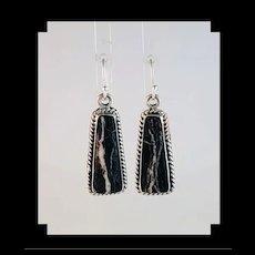 Striking Navajo Made White Buffalo Earrings