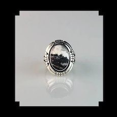 Navajo Sterling and White Buffalo Ring  Size 7 1/4