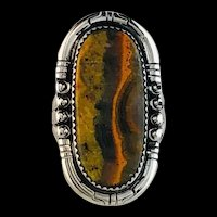 Sterling and Bumblebee Jasper Ring by Richard Kee  Size 11 3/4