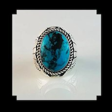 Impressive Navajo Sterling and Turquoise Men's Ring  Size 10 3/4