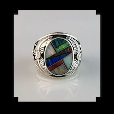 Native American Sterling and Opalite Men's Ring  Size 12 3/4