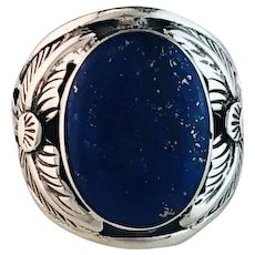 Mens Navajo Sterling and Lapis Ring Size 10 1/4