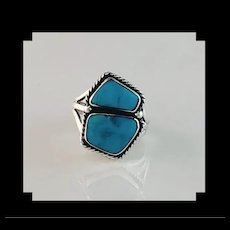 Navajo Sterling and Turquoise Double Stone Ring