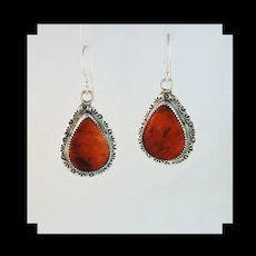 Large Sterling and Spiny Oyster Earrings