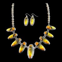 Stunning Sterling and Bumblebee Jasper Necklace Set