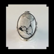 Large Sterling and White Buffalo Mens Ring by Alice Gabby
