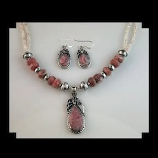 White Fox Creation: Sterling and Rhodochrosite Necklace and Earring Set
