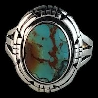 Navajo Sterling and Turquoise Ring Size 10 1/4