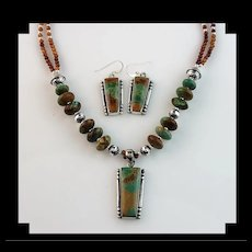 White Fox Creation:  Turquoise and Hessonite Garnet Necklace