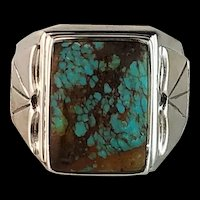Navajo Sterling and  Turquoise Men's Ring   Size 14