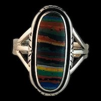 Native American Sterling and Rainbow Calsilica Ring