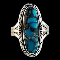 Navajo Sterling and Blue Warrior Turquoise Ring    Size 10 1/4