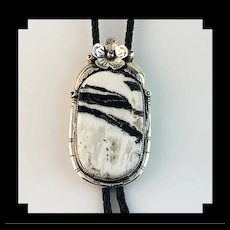 Sterling and White Buffalo Bolo by Navajo Artist Ted Secatero