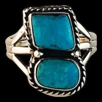 Navajo Sterling and Sleeping Beauty Turquoise Ring  Size 9 1/2
