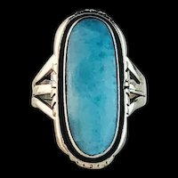 Navajo Sterling and Larimar Ring  Size: 5 3/4
