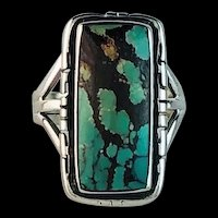 Navajo Sterling and Turquoise Ring Size 7 3/4
