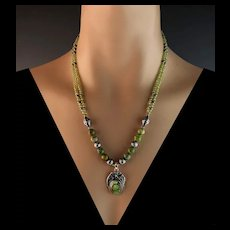 White Fox Creation:  Sterling, Gaspeite and Peridot Necklace