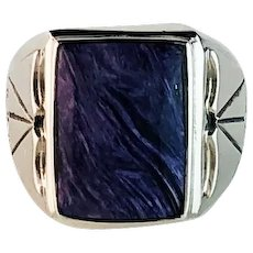 Navajo Sterling and Charoite Mens Ring Size 13 1/2