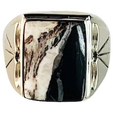 Navajo Sterling and White Buffalo Mens Ring Size 12 1/2