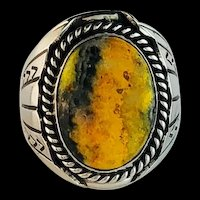 Large Sterling and Bumblebee Jasper Mens Ring  Size 10 3/4