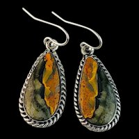 Sterling and Bumblebee Jasper Earrings