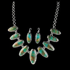 Sterling and Royston Turquoise Navajo Necklace Set
