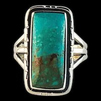 Sterling and Pilot Mountain Turquoise Ring Size 9 3/4