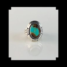 Navajo Sterling and Turquoise Double Stacked Ring Size 6 3/4