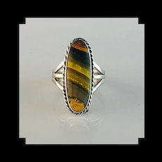 Navajo Sterling and Bumblebee Jasper Ring  Size  8 3/4