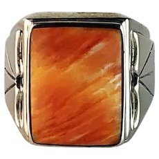 Navajo Sterling and Spiny Oyster Mens Ring  Size 10 3/4