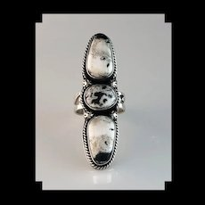 Extra Long Sterling and White Buffalo Ring  Size 10 1/4