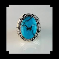 Navajo Sterling and Turquoise Mens Ring Size 11